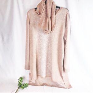 Apt 9 Rosegold Sweater with Scarf XXL NWT